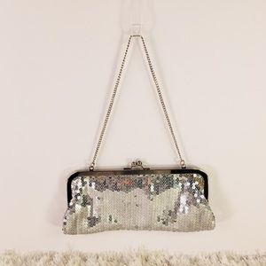 Silver Sequin Evening Bag Clutch LOFT Ann Taylor